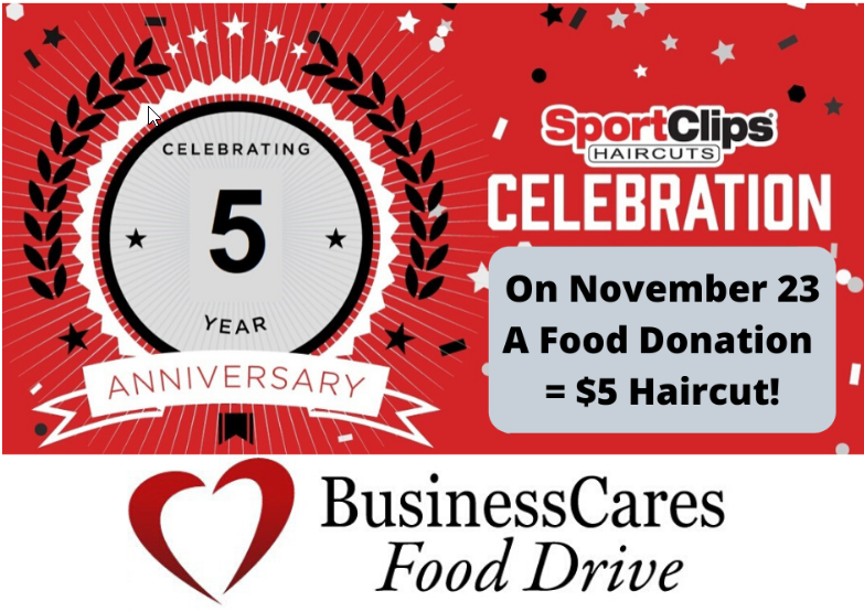 An image of a fifth-anniversary logo for SportsClips, announcing its Nov. 23 fundraiser.