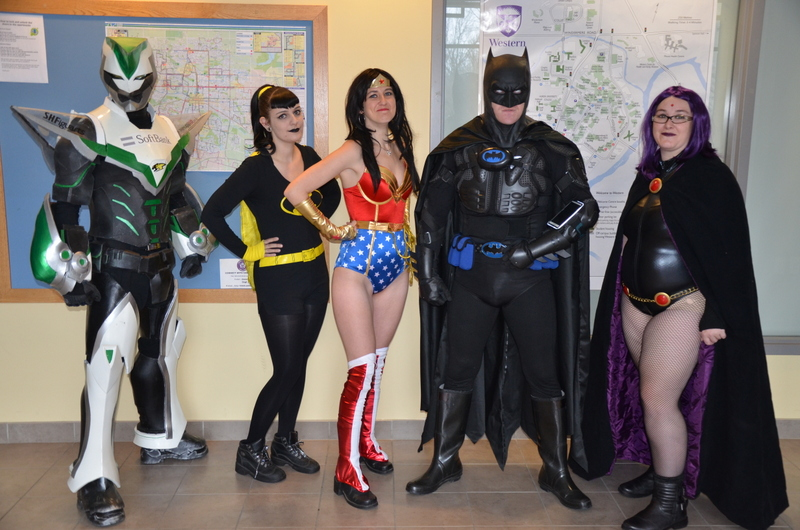 From left to right, Wild Tiger, Batgirl, Wonder Woman, London's Batman, and Raven.