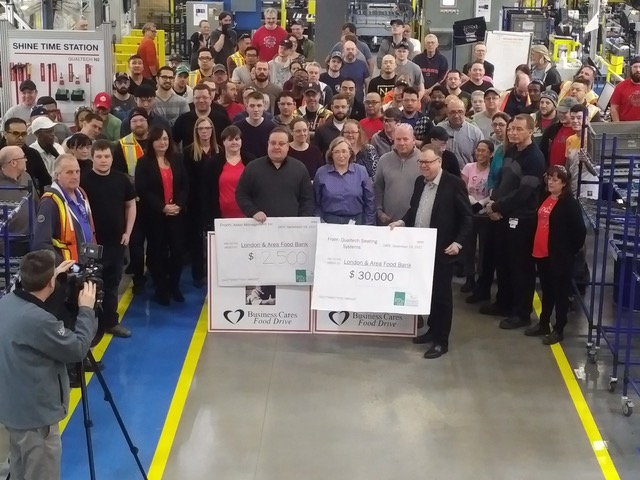 An image of Qualtech Seating Systems/Magna Seating and Aslon Management's combined $32.5K donation.